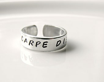 Carpe Diem,  Latin word, Seize the Day.  Hand stamped custom made ring.