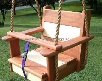 Cherry/Maple Kids Seat Wood Tree Swing