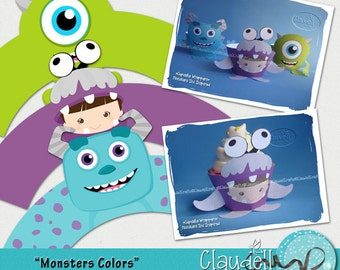 Monsters Colors Inspired Printable Cupcake 3D Wrapper - 300 DPI
