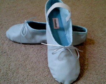 Pale Blue Leather Ballet Shoes - Full sole - Adult sizes