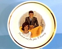 Vintage John F. Kennedy and Jackie Collectible Plate, JFK Souvenir Plate, Commemorative JFK, JFK Memorabilia, Under 15