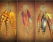 Flower of life feather single earring