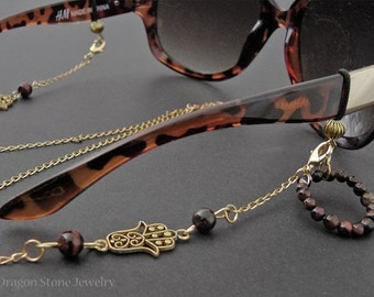 Red Tiger Eye Eyeglass Chain Holder Necklace (Egyptian Hand)