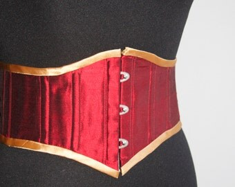 Corset belt in crimson dupion silk with  ivory duchesse satin binding