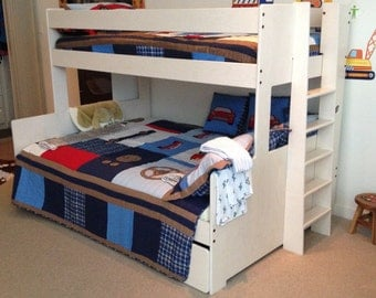 Bunk bed twin over full with extra storage