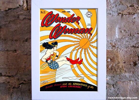 Wonder Woman Comic Art Print, Framed Art, Comic Book, Spiral, Red Gold