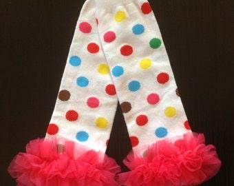 Party Rainbow dot leg warmers, leg warmers, baby girl leg warmers, baby leg warmers, ruffle baby leg warmers, arm warmers -BL410