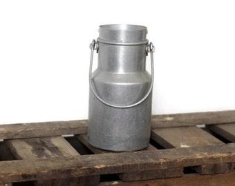 French metal milk jug, aluminum vintage milk can -- home kitchen decor