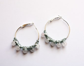 Gorgeous natural rose quartz crystal wired hoop earrings.