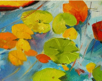 NOT AVAILABLE Lily Leaves 3. Original oil painting