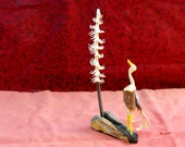 Hand Carved Twig Crane and Pine Tree