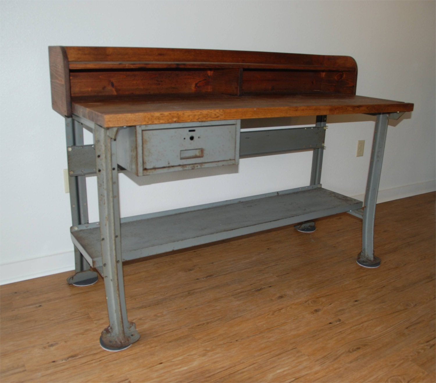 Items Similar To Vintage Industrial Work Bench Or Desk Lyon Metal Company On Etsy