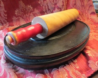 Rolling Pin with Red Contoured Handles