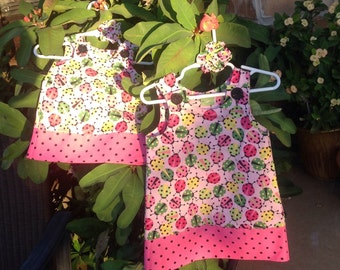 Pink & Green Ladybug Dress, (baby, infant, girls, infant, child) with matching hair accessory