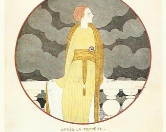 Vogue magazine cover 1919 by Lepape Lady Clouds Fortuny Dress Fashion Illustration Vogue Poster Art Deco Home Decor Print Fine Art