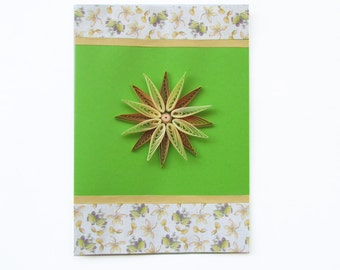 Green Flower Quilling Greeting Card, Quilled Blank Birthday Card, Mother's day card, Romantic Thank you card