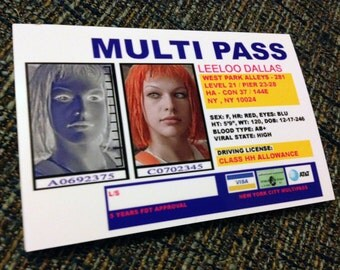 Fifth Element Leeloo Multi Pass Multipass Cosplay Card only Handmade Prop Replica Custom Scifi