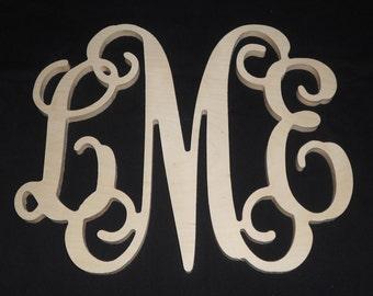 "12"" x 12""  Wooden Vine Monogram Unfinished wood letters Room Decor Childrens Room"
