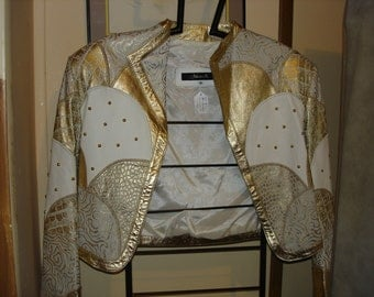 White & Gold  Leather Jacket Size Med