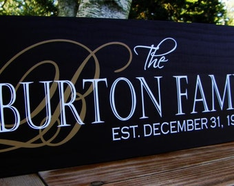 Christmas Gift Family Established Sign last name sign custom Personalized wedding gift sign with established date personalized