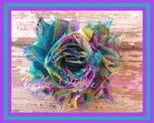 Shabby Flower turquoise-purple print to make Vintage headbands - barefoot sandal for baby- girls-embellish wardrobe