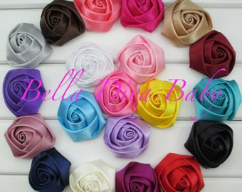 """2"""" inch Rosette Satin Rolled - Vintage Satin Rolled Rose flowers to make headbands, girl-Bride hair accessory- bride satin rosette bouquet"""