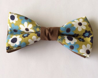 Brown and Blue Floral Bow Tie