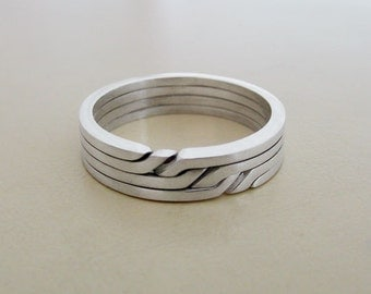 RONRING 4 - Unique Puzzle Rings by PuzzleRingMaker - Sterling Silver or Gold - 4 Bands