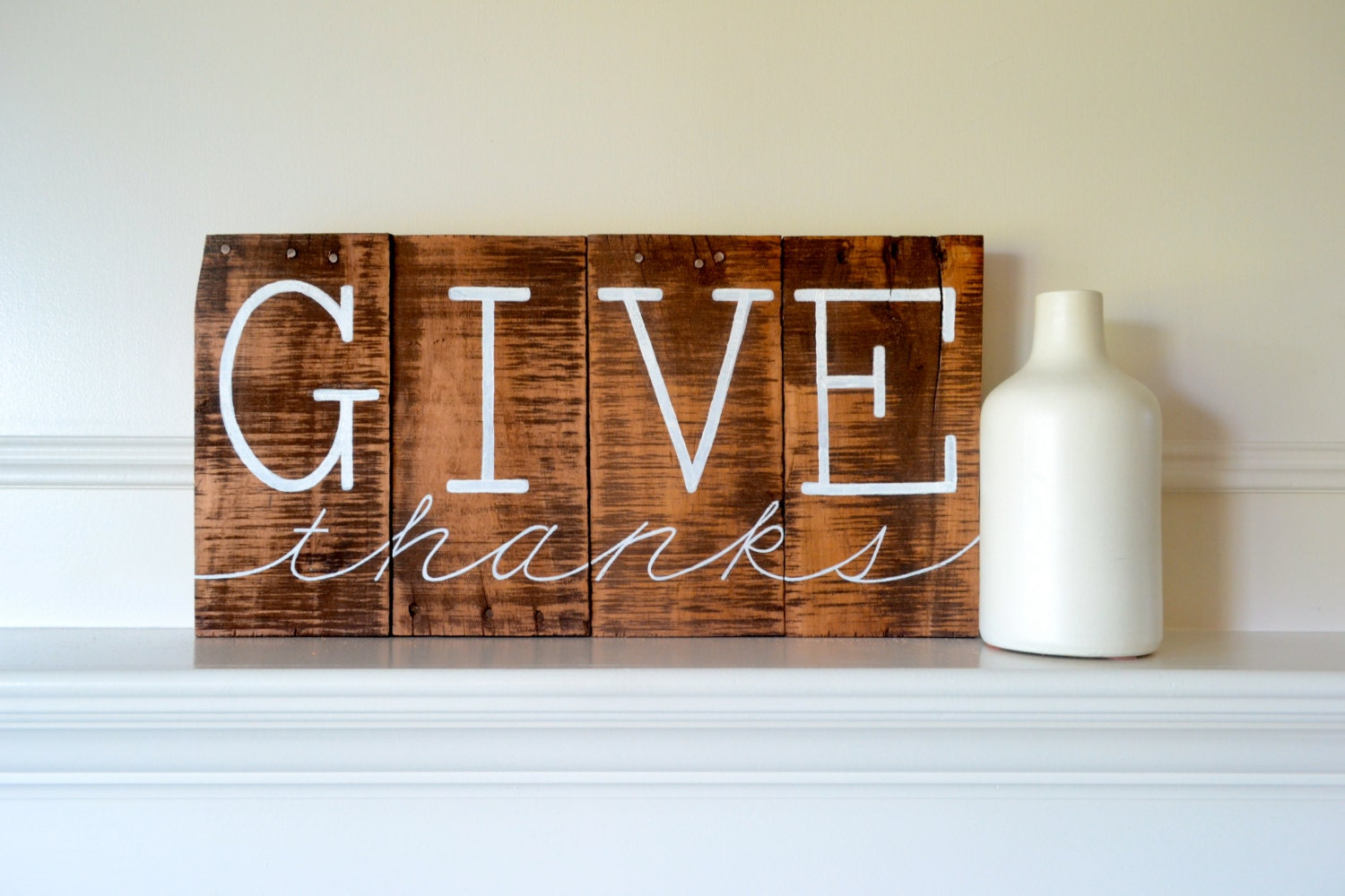 Reclaimed wood art sign give thanks thanksgiving home for Home decor signs