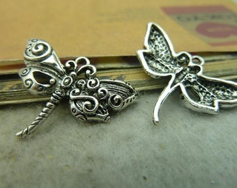 20pcs 20x28mm Antique Silver Dragonfly Charms Pendants Jewelry Findings AC3729