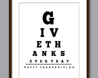 Give Thanks Eye Chart Art Print - Thanksgiving Art Print