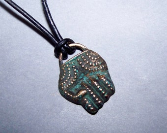 Pendant, Tribal, bronze, fist * 21