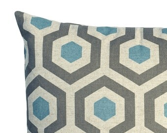 one blue and grey decorative throw zipper pillow cover 8 fabrics and 11 sizes accent pillow - Blue Decorative Pillows
