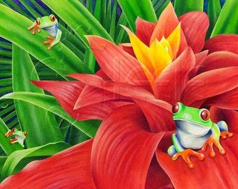 "Tropical art print - green tree frogs: ""Three Amigos"""