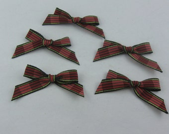 5 old, small, black-colored fabric bows. Approx. 5 x 2 cm. VINTAGE