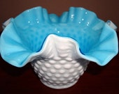 Vintage Kanawha Glass Bowl - Kanawha Milkglass Bowl - Kanawha White Hobnail Bowl with Blue Casing