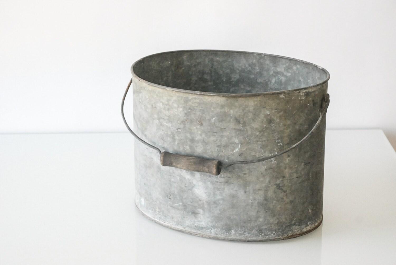 Vintage metal bucket galvanized bucket metal pail garden for Old metal buckets
