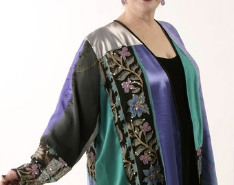 Peggy Lutz Plus Size Designer Wearable Art Jacket Turquoise Silver Amethyst Handpainted Jeweled Sizes 22/24, 26/28, 30/32