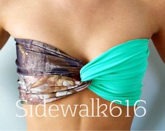 Camo and Mint Bandeau Top Spandex Bandeau Bikini Swimsuit