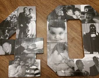 """18"""" Handmade Number Photo Collages"""