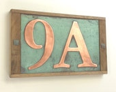 "Custom made House number in copper with oak frame,  2 nos. x 6""/150 mm high, UK made, shipped worldwide"