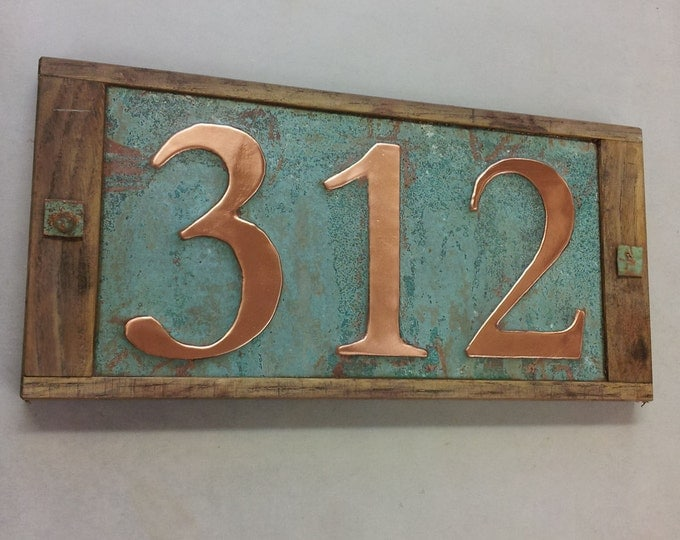 "Oak Wood and Copper House numbers x 3, 3""/75mm or 4""/100mm high, polished and lacquered g"
