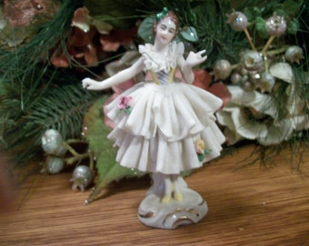 Dresden Porcelain Dancing Woman Figurine Antique Collectible Pre-War German Ballerina White Dipped Lace Pink Roses