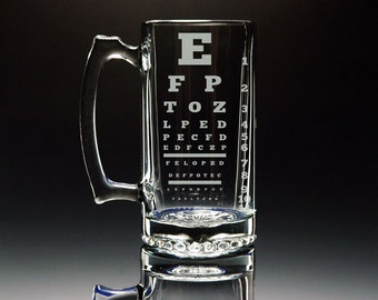 Beer Stein - Eye Chart - Etched Large 26.5 oz Glass Mug