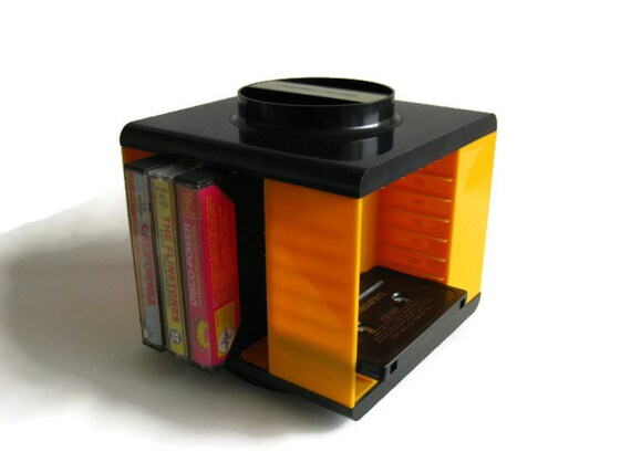 German Vintage Carousel Cassette Tape Holder Rack in Yellow / Black Plastic 70's