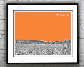 Marquette Skyline Art Print Poster Michigan MI Version 2 Landscape