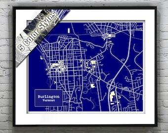 Burlington Vermont Blueprint Map Poster Art Print Several Sizes Available
