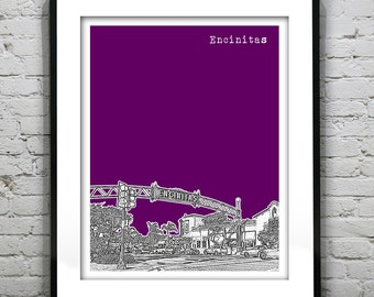 Encinitas California Skyline Art Print Poster CA Version 1