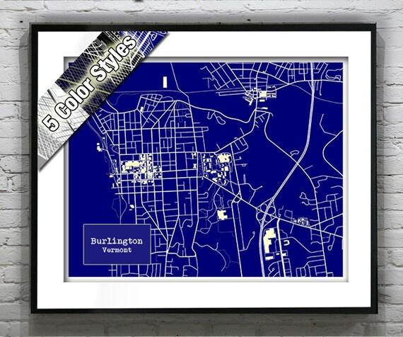Burlington Vermont Blueprint Map Poster Art Print Several