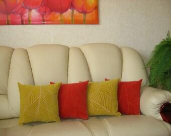 "Orange - Velvet - Decorative - Luxury - Handmade - Throw pillow  - Cushion - Cover - 45 cm x 45 cm (18"" x 18"")"